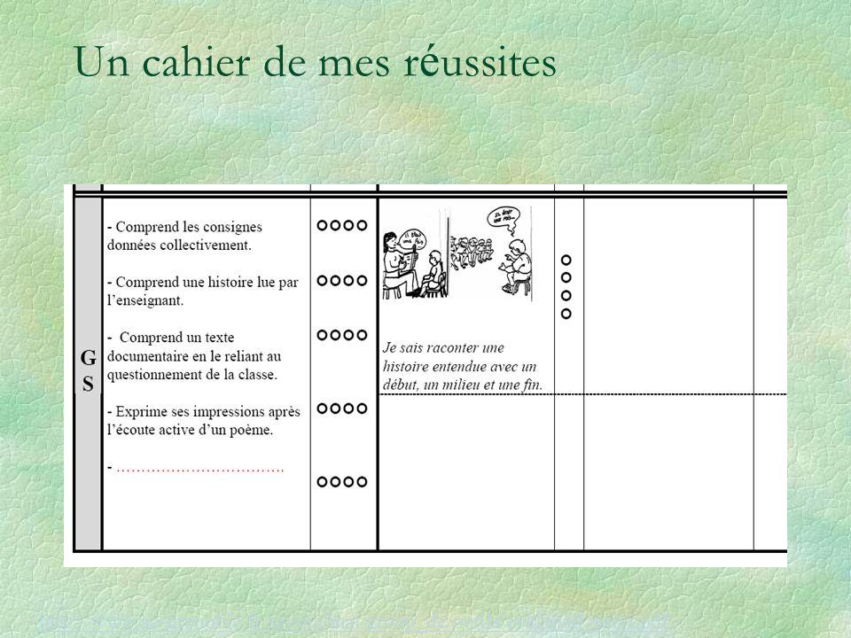 Un cahier de mes r é ussites http://www.ac-grenoble.fr/savoie/mat/group_de/outils/eval/eval_suivi.pdf