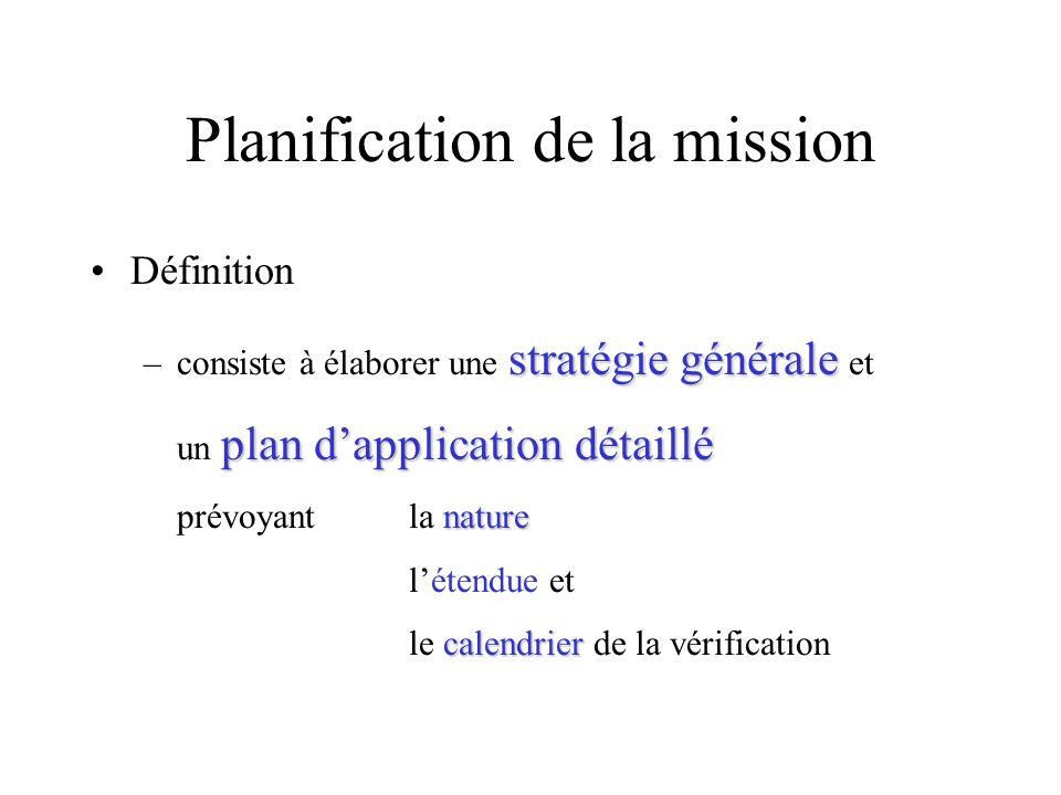 Planification de la mission Définition stratégie générale plan dapplication détaillé nature calendrier –consiste à élaborer une stratégie générale et