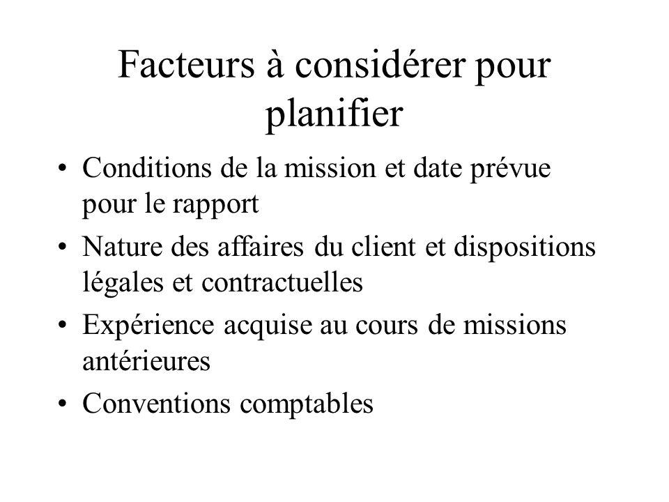 Facteurs à considérer pour planifier Conditions de la mission et date prévue pour le rapport Nature des affaires du client et dispositions légales et