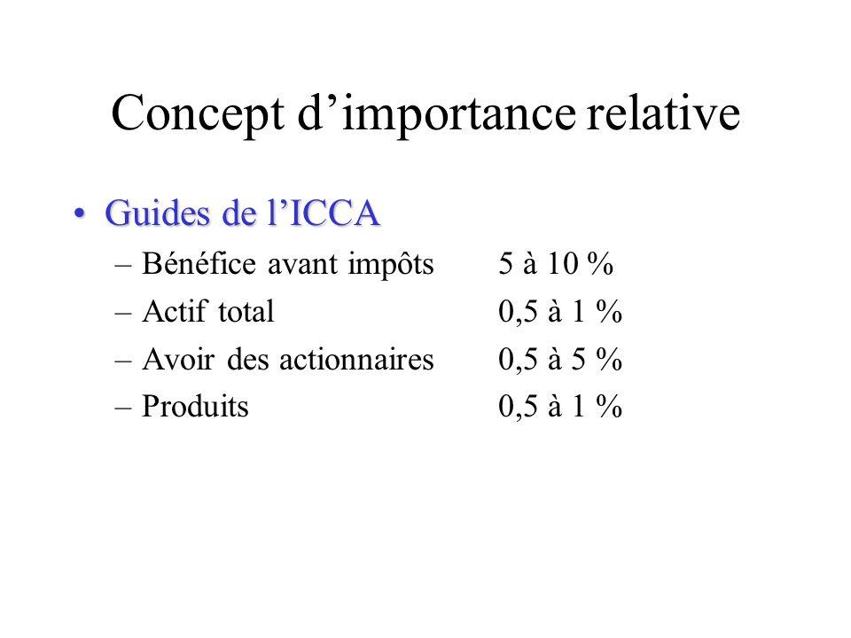Concept dimportance relative Guides de lICCAGuides de lICCA –Bénéfice avant impôts5 à 10 % –Actif total0,5 à 1 % –Avoir des actionnaires0,5 à 5 % –Pro
