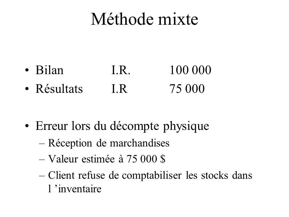 Méthode mixte Bilan I.R.100 000 RésultatsI.R75 000 Erreur lors du décompte physique –Réception de marchandises –Valeur estimée à 75 000 $ –Client refu