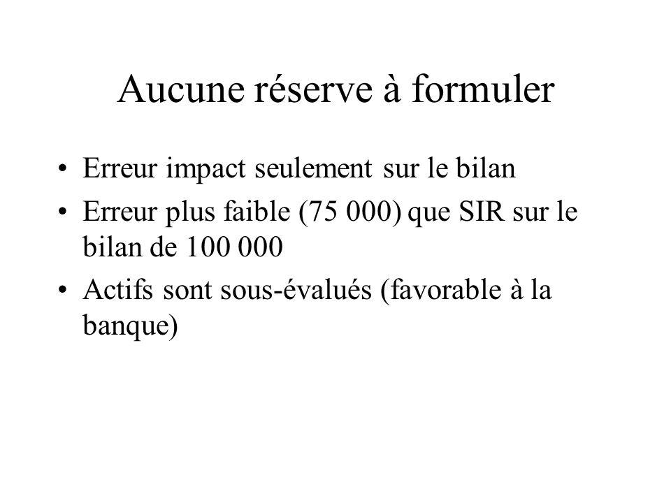 Aucune réserve à formuler Erreur impact seulement sur le bilan Erreur plus faible (75 000) que SIR sur le bilan de 100 000 Actifs sont sous-évalués (f