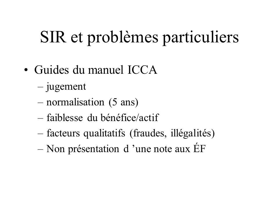 SIR et problèmes particuliers Guides du manuel ICCA –jugement –normalisation (5 ans) –faiblesse du bénéfice/actif –facteurs qualitatifs (fraudes, illé