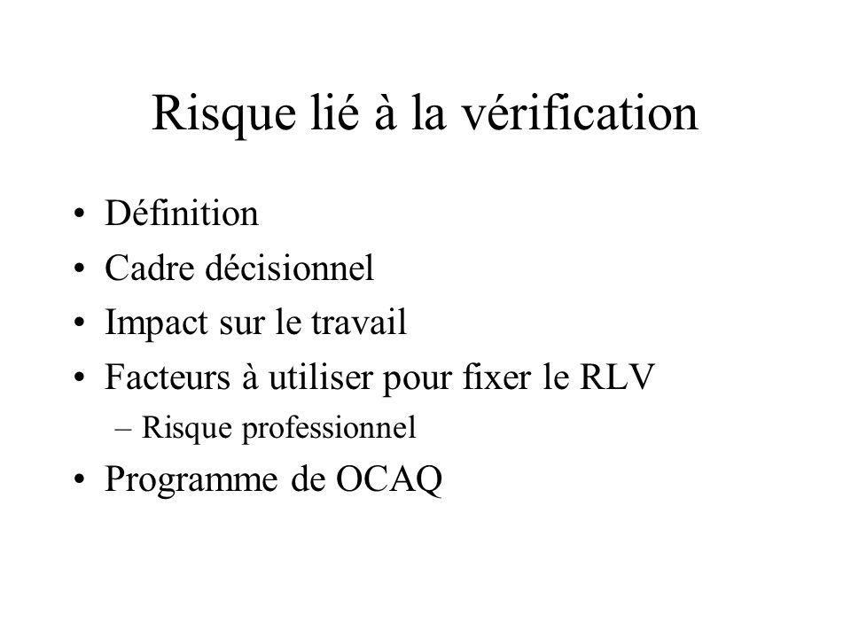 Risque lié à la vérification Définition Cadre décisionnel Impact sur le travail Facteurs à utiliser pour fixer le RLV –Risque professionnel Programme