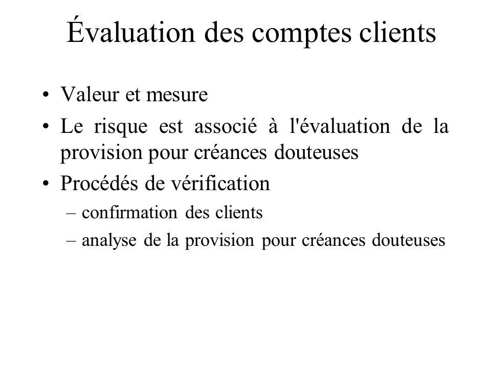 Évaluation des comptes clients Valeur et mesure Le risque est associé à l'évaluation de la provision pour créances douteuses Procédés de vérification