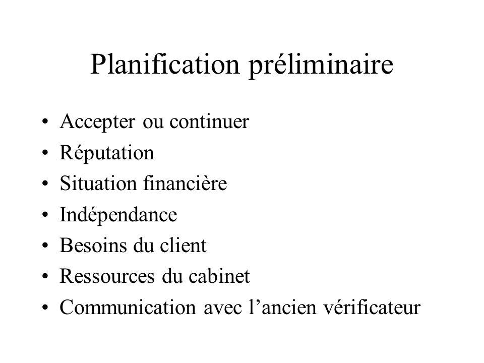 Planification préliminaire Accepter ou continuer Réputation Situation financière Indépendance Besoins du client Ressources du cabinet Communication av