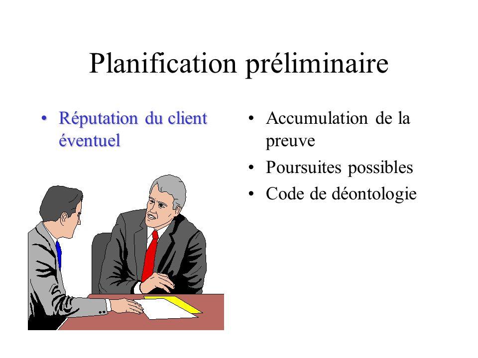 Planification préliminaire Réputation du client éventuelRéputation du client éventuel Accumulation de la preuve Poursuites possibles Code de déontolog