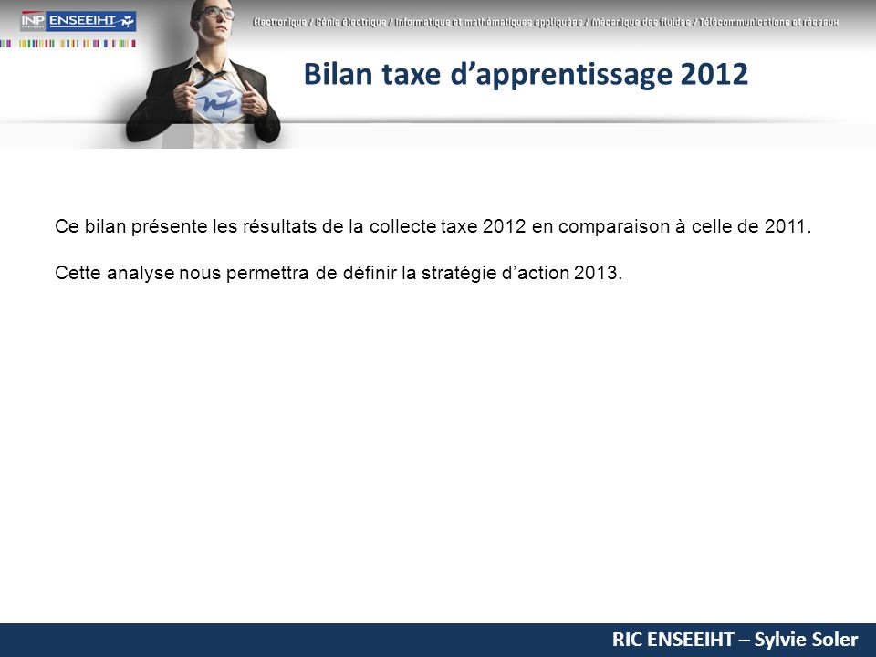 RIC ENSEEIHT – Sylvie Soler Bilan taxe dapprentissage 2012 Ce bilan présente les résultats de la collecte taxe 2012 en comparaison à celle de 2011.