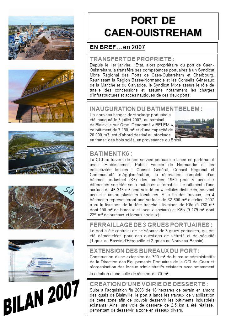 FERRAILLAGE DE 3 GRUES PORTUAIRES : Le port a été contraint de se séparer de 3 grues portuaires, qui ont été démentelées pour des questions de vétusté et de sécurité (1 grue au Bassin dHérouville et 2 grues au Nouveau Bassin).