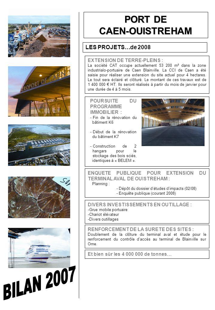 PORT DE CAEN-OUISTREHAM LES PROJETS…de 2008 EXTENSION DE TERRE-PLEINS : La société CAT occupe actuellement 53 200 m² dans la zone industrialo-portuaire de Caen Blainville.
