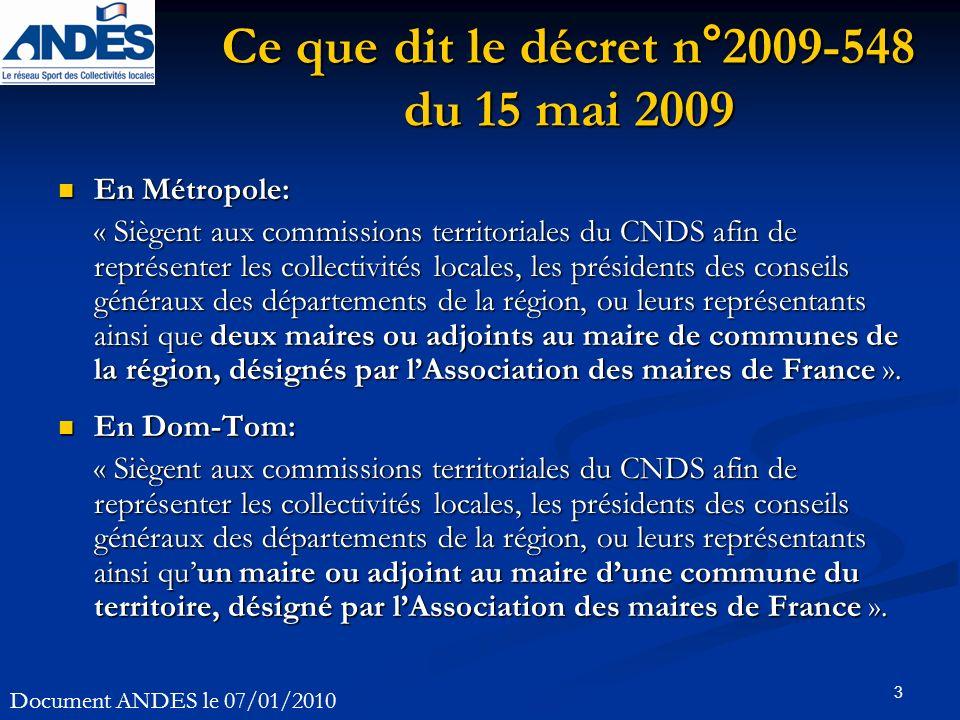 3 Ce que dit le décret n°2009-548 du 15 mai 2009 En Métropole: En Métropole: « Siègent aux commissions territoriales du CNDS afin de représenter les c