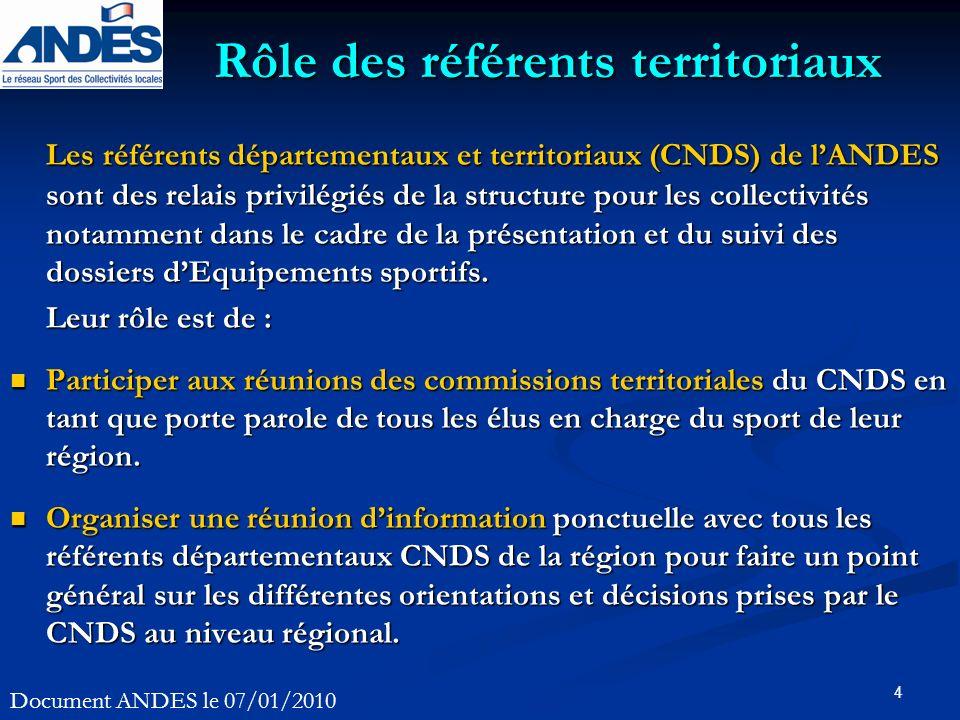 4 Les référents départementaux et territoriaux (CNDS) de lANDES sont des relais privilégiés de la structure pour les collectivités notamment dans le c