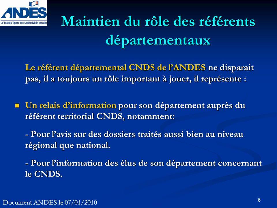 6 Maintien du rôle des référents départementaux Le référent départemental CNDS de lANDES ne disparait pas, il a toujours un rôle important à jouer, il