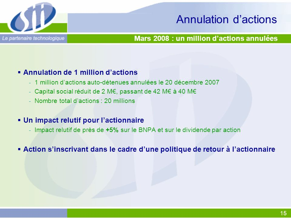 15 Annulation dactions Mars 2008 : un million dactions annulées Annulation de 1 million dactions 1 million dactions auto-détenues annulées le 20 décem