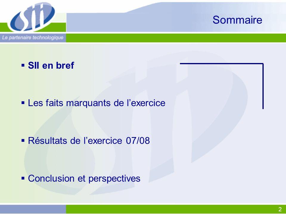 2 Sommaire SII en bref Les faits marquants de lexercice Résultats de lexercice 07/08 Conclusion et perspectives