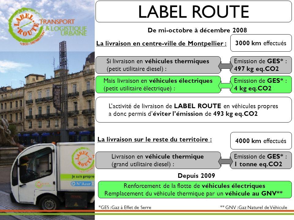 Lactivité de livraison de LABEL ROUTE en véhicules propres a donc permis déviter lémission de 493 kg eq.CO2 Si livraison en véhicules thermiques (peti