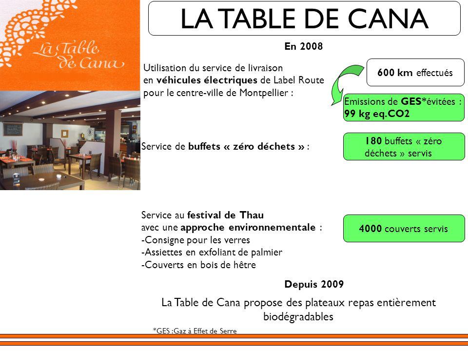 LA TABLE DE CANA 180 buffets « zéro déchets » servis La Table de Cana propose des plateaux repas entièrement biodégradables En 2008 Utilisation du ser