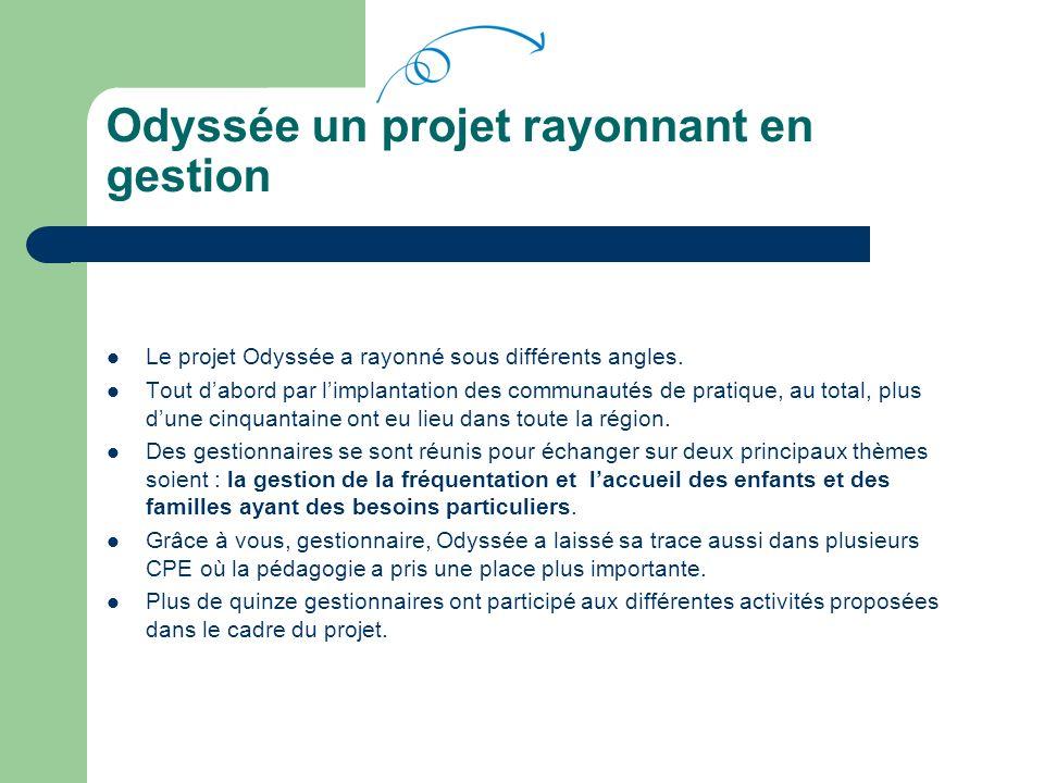 Odyssée un projet rayonnant en gestion Le projet Odyssée a rayonné sous différents angles.