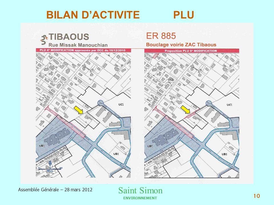 Saint Simon ENVIRONNEMENT Assemblée Générale – 28 mars 2012 10 BILAN DACTIVITE PLU