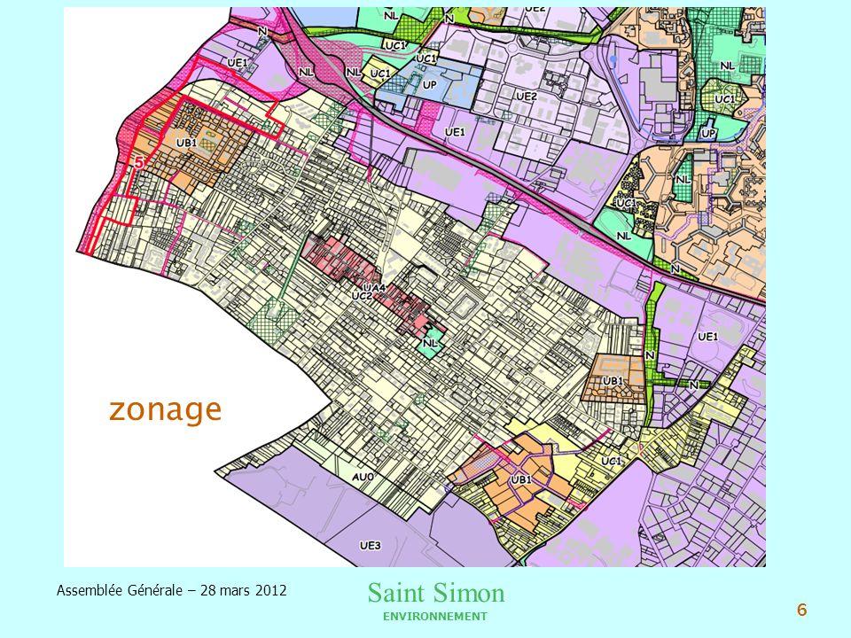 Saint Simon ENVIRONNEMENT Assemblée Générale – 28 mars 2012 7 BILAN DACTIVITE PLU Zonage du quartier