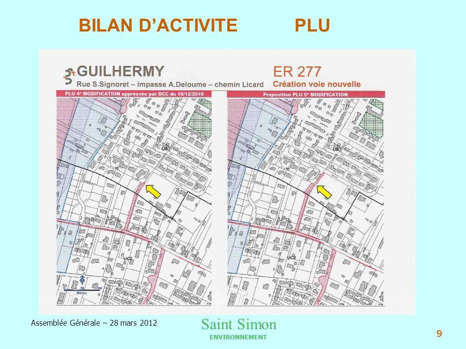 Saint Simon ENVIRONNEMENT Assemblée Générale – 28 mars 2012 9 BILAN DACTIVITE PLU