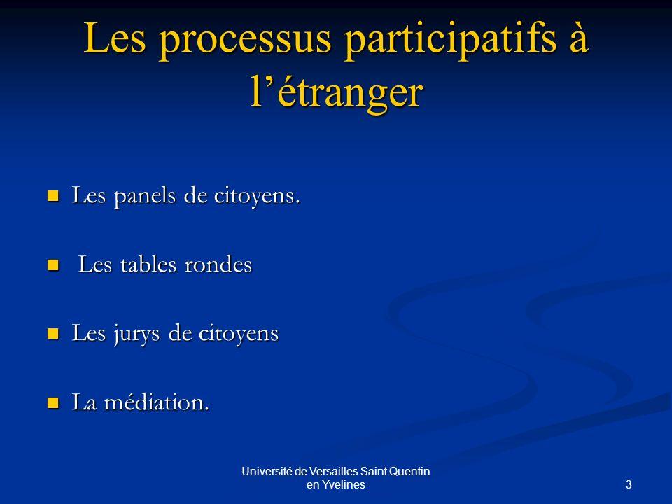 3 Université de Versailles Saint Quentin en Yvelines Les processus participatifs à létranger Les panels de citoyens.