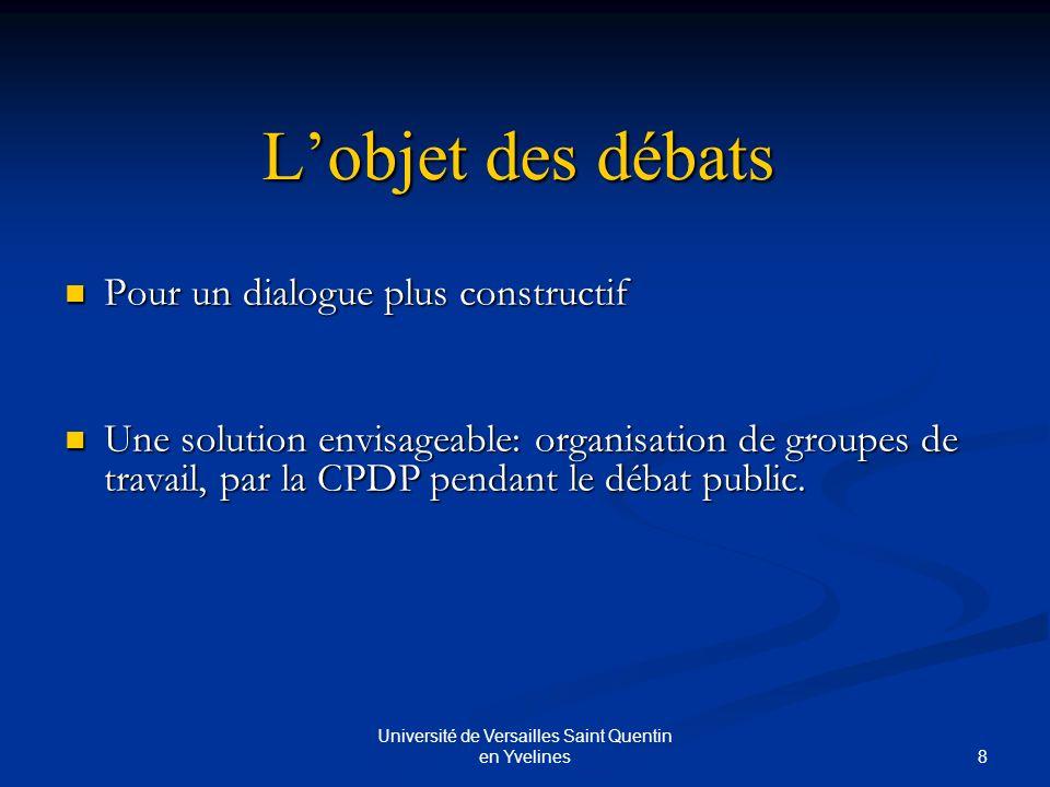 9 Université de Versailles Saint Quentin en Yvelines Conclusion Le financement du débat public: Les coûts sont importants mais cela vaut la peine dinvestir dans le processus.
