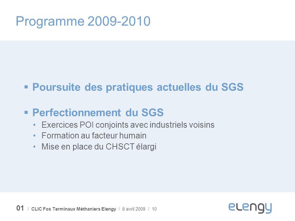 / CLIC Fos Terminaux Méthaniers Elengy / 8 avril 2009 / 10 Programme 2009-2010 Poursuite des pratiques actuelles du SGS Perfectionnement du SGS Exerci