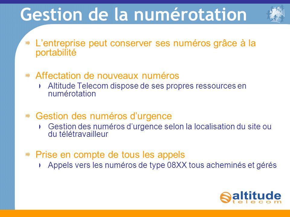 Gestion de la numérotation Lentreprise peut conserver ses numéros grâce à la portabilité Affectation de nouveaux numéros Altitude Telecom dispose de s
