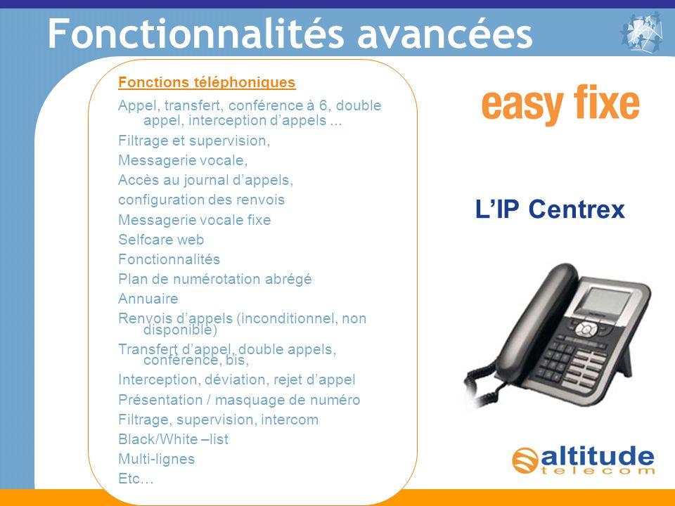 Fonctionnalités avancées LIP Centrex Fonctions téléphoniques Appel, transfert, conférence à 6, double appel, interception dappels... Filtrage et super