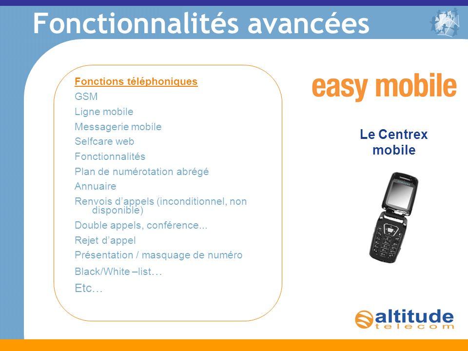 Fonctionnalités avancées Le Centrex mobile Fonctions téléphoniques GSM Ligne mobile Messagerie mobile Selfcare web Fonctionnalités Plan de numérotatio