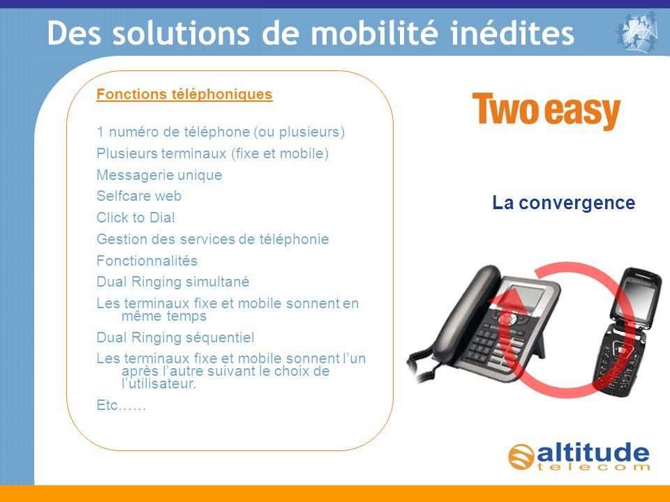 La convergence Des solutions de mobilité inédites Fonctions téléphoniques 1 numéro de téléphone (ou plusieurs) Plusieurs terminaux (fixe et mobile) Me