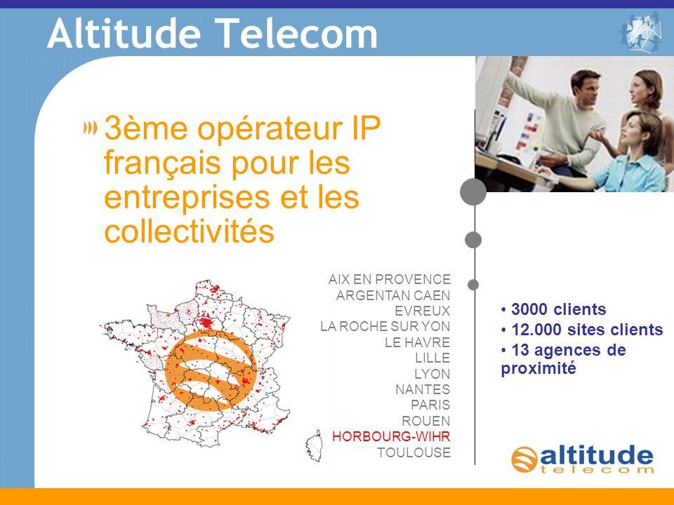 Altitude Telecom 3ème opérateur IP français pour les entreprises et les collectivités 3000 clients 12.000 sites clients 13 agences de proximité AIX EN PROVENCE ARGENTAN CAEN EVREUX LA ROCHE SUR YON LE HAVRE LILLE LYON NANTES PARIS ROUEN HORBOURG-WIHR TOULOUSE