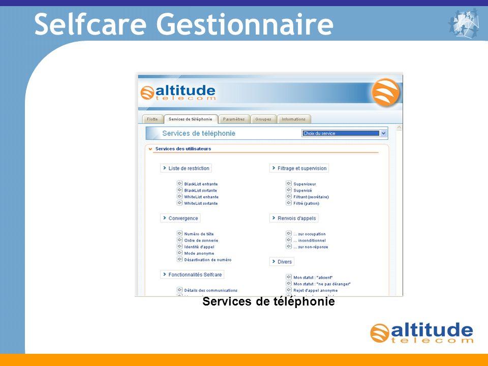 Services de téléphonie Selfcare Gestionnaire