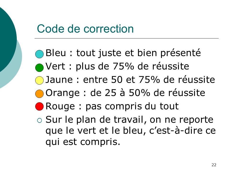 22 Code de correction Bleu : tout juste et bien présenté Vert : plus de 75% de réussite Jaune : entre 50 et 75% de réussite Orange : de 25 à 50% de ré