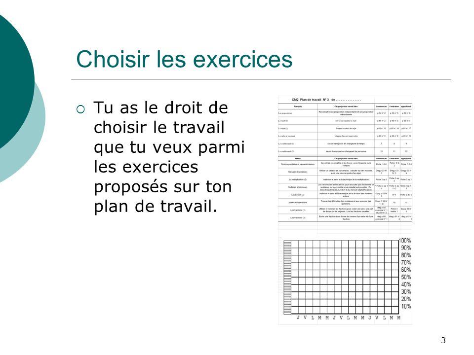 3 Choisir les exercices Tu as le droit de choisir le travail que tu veux parmi les exercices proposés sur ton plan de travail.