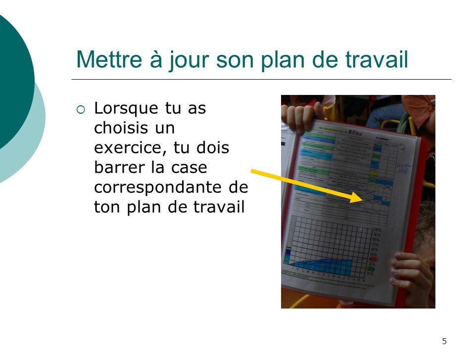 5 Mettre à jour son plan de travail Lorsque tu as choisis un exercice, tu dois barrer la case correspondante de ton plan de travail