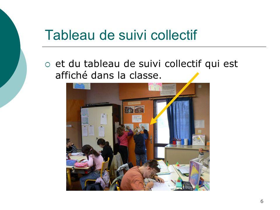 6 Tableau de suivi collectif et du tableau de suivi collectif qui est affiché dans la classe.