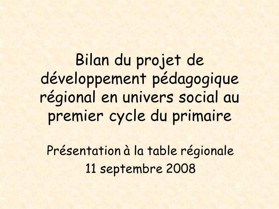 Bilan du projet de développement pédagogique régional en univers social au premier cycle du primaire Présentation à la table régionale 11 septembre 20