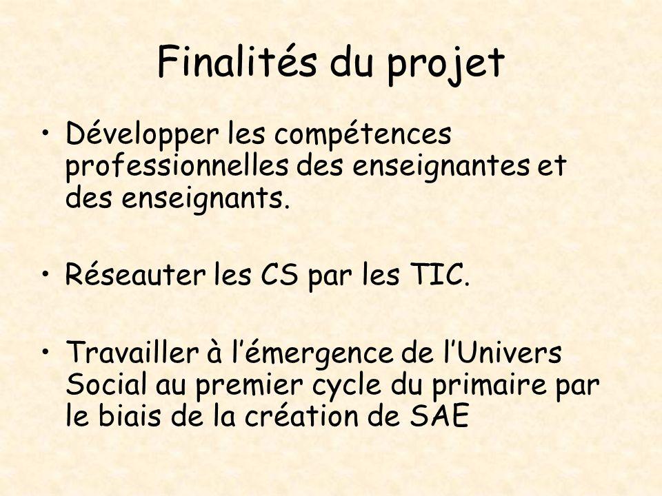 Finalités du projet Développer les compétences professionnelles des enseignantes et des enseignants. Réseauter les CS par les TIC. Travailler à lémerg