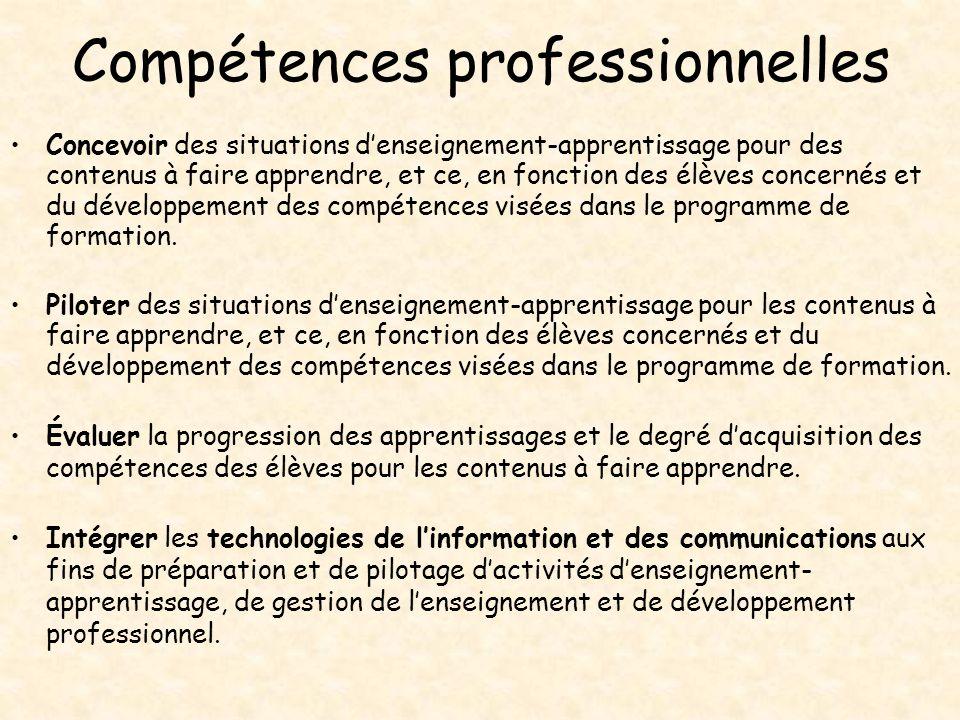 Compétences professionnelles Concevoir des situations denseignement-apprentissage pour des contenus à faire apprendre, et ce, en fonction des élèves c