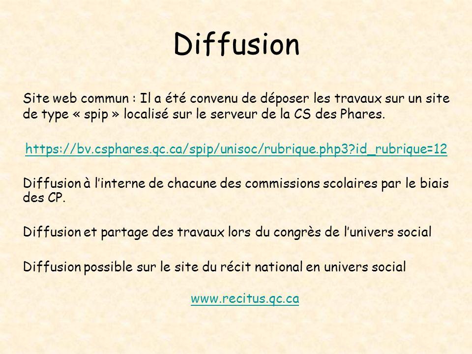 Diffusion Site web commun : Il a été convenu de déposer les travaux sur un site de type « spip » localisé sur le serveur de la CS des Phares. https://