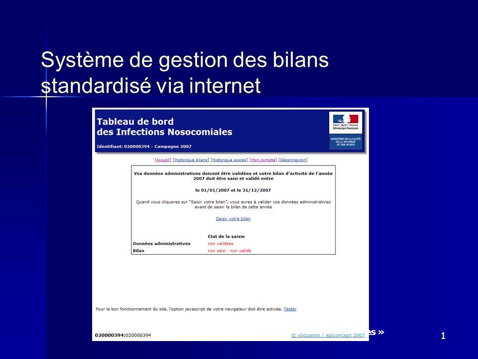 Tableau de bord 2007 « infections nosocomiales » 1 Système de gestion des bilans standardisé via internet