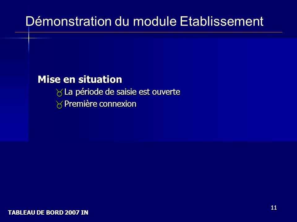 TABLEAU DE BORD 2007 IN 11 Démonstration du module Etablissement Mise en situation _La période de saisie est ouverte _Première connexion