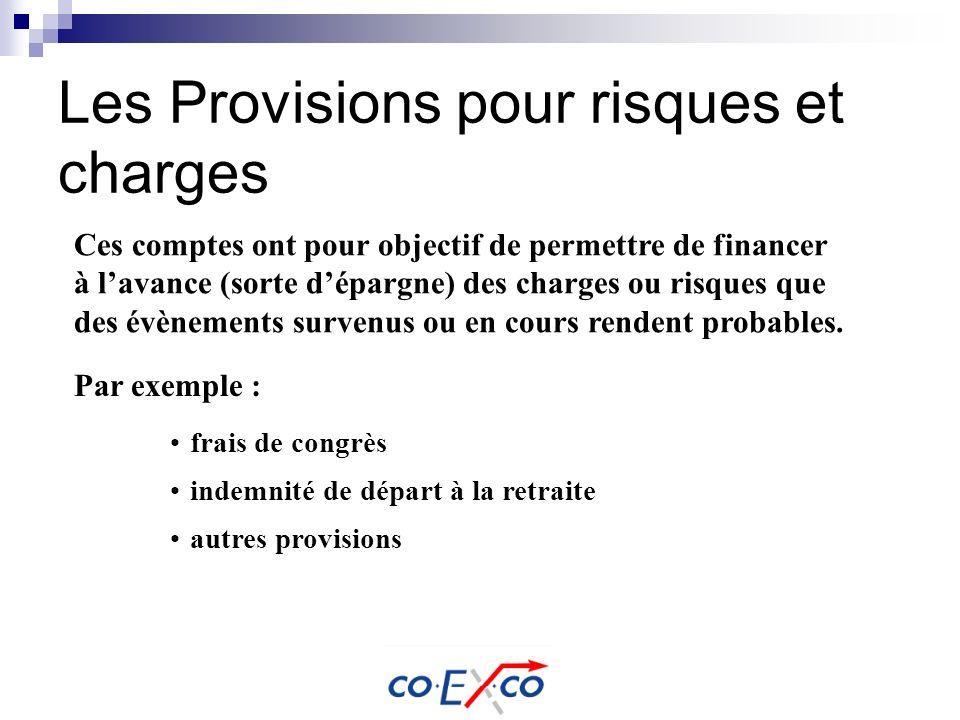 Les Provisions pour risques et charges Ces comptes ont pour objectif de permettre de financer à lavance (sorte dépargne) des charges ou risques que de