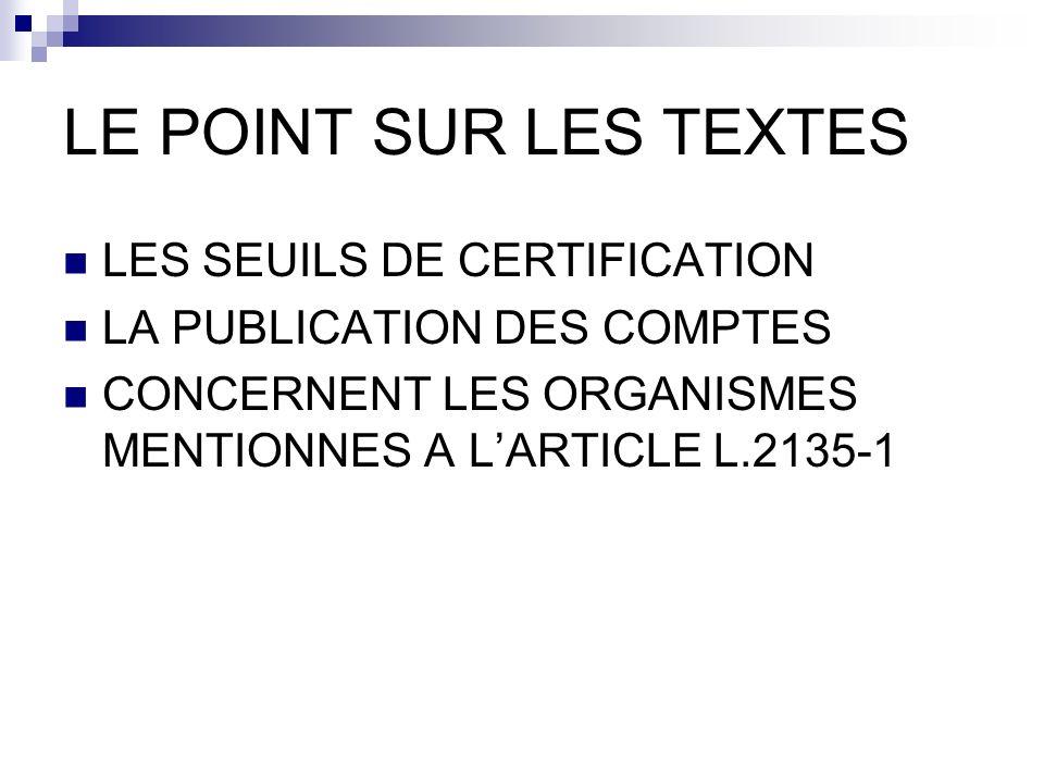LE POINT SUR LES TEXTES LES SEUILS DE CERTIFICATION LA PUBLICATION DES COMPTES CONCERNENT LES ORGANISMES MENTIONNES A LARTICLE L.2135-1