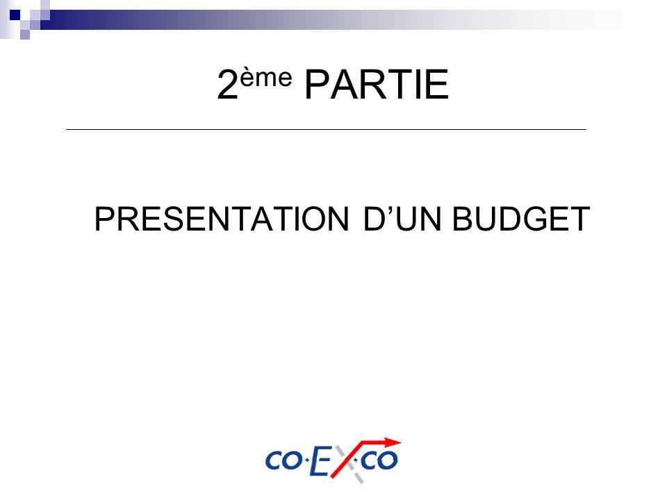 2 ème PARTIE PRESENTATION DUN BUDGET