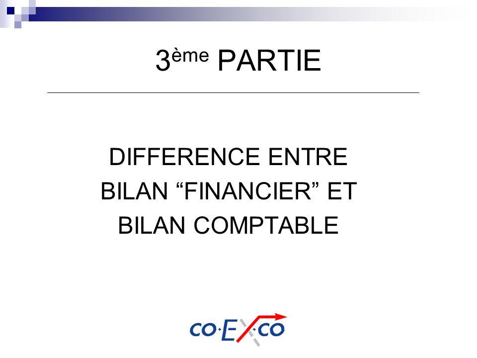 3 ème PARTIE DIFFERENCE ENTRE BILAN FINANCIER ET BILAN COMPTABLE