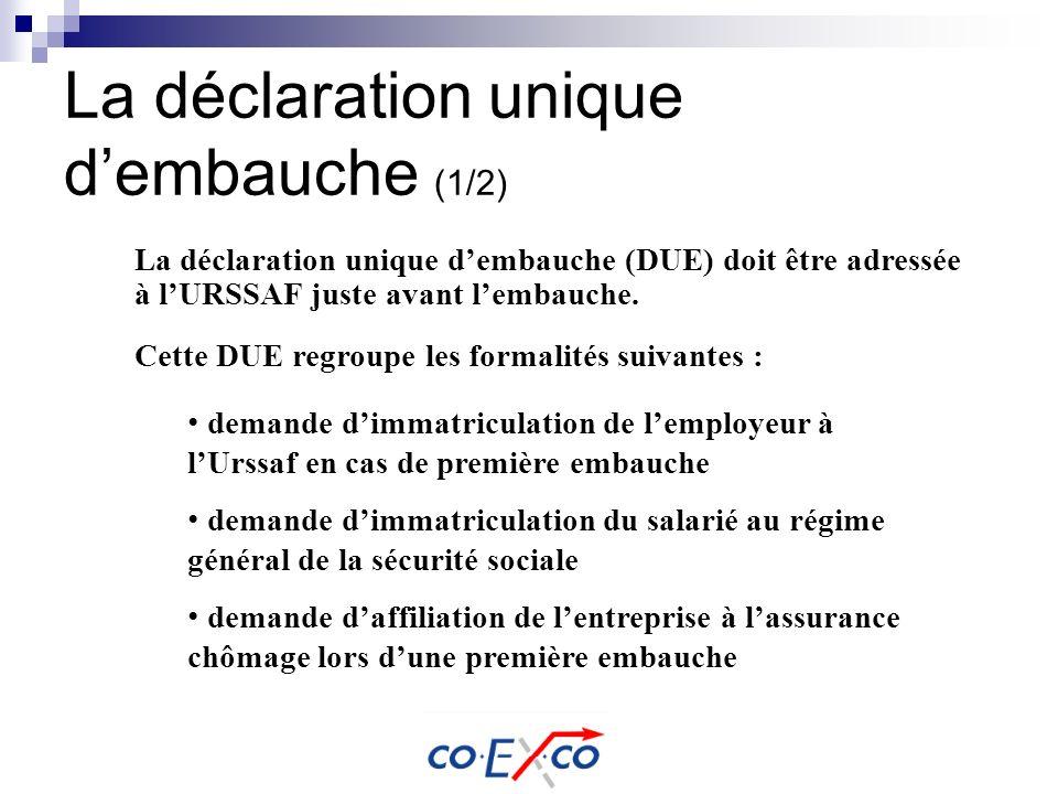La déclaration unique dembauche (1/2) La déclaration unique dembauche (DUE) doit être adressée à lURSSAF juste avant lembauche. Cette DUE regroupe les