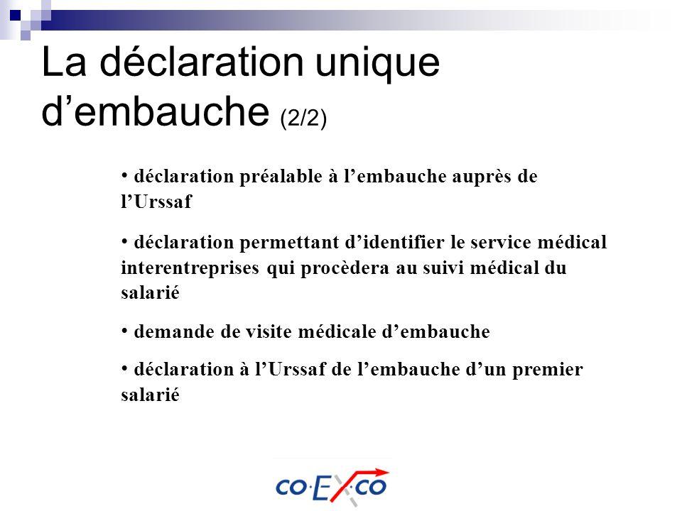 La déclaration unique dembauche (2/2) déclaration préalable à lembauche auprès de lUrssaf déclaration permettant didentifier le service médical intere
